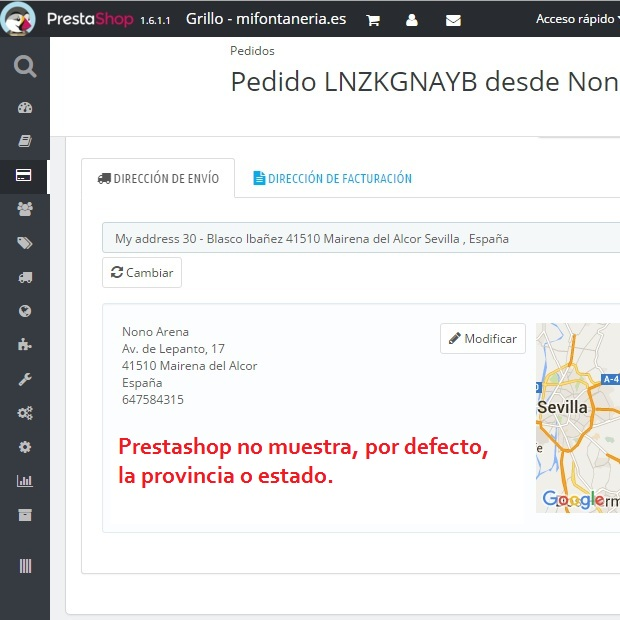 Prestashop no muestra el estado o provincia en las direcciones de pedido