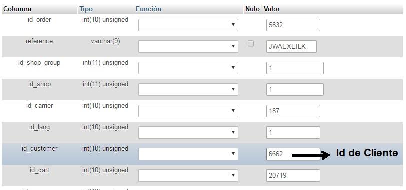 ID de Cliente en la tabla pedidos de Prestashop