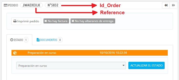 Ver ID de un pedido de Prestashop